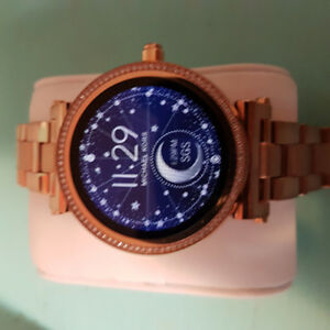 Michael kors sofia rosegold smart watch with swarovski crystals.