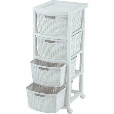 Rimax White Four Drawer Rolling Cart