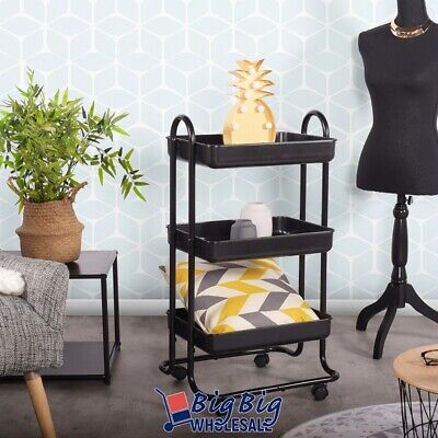 Black 3 Tier Kitchen Trolley Rolling Plastic Tray Storage Bathroom Dining Cart