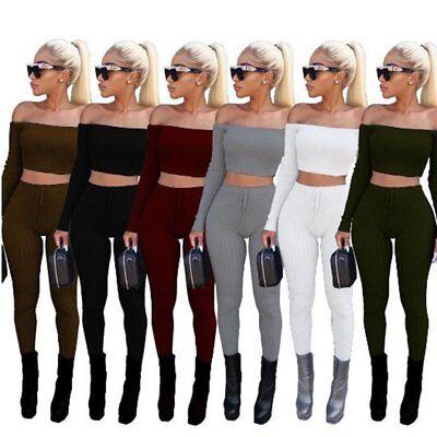 Women Crop Top Long Pants Set Two Piece Outfits Jumpsuit Playsuit Casual Clothes