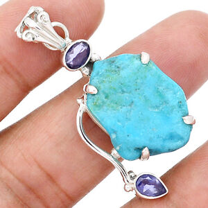 Arizona Turquoise 925 Sterling Silver Pendant with Iolite Accent