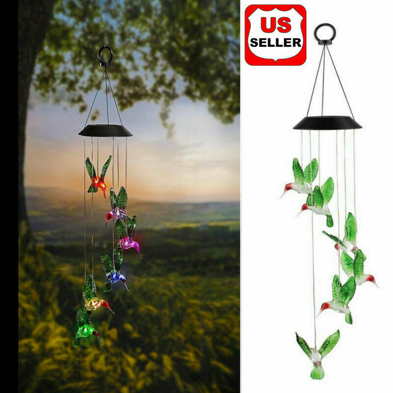 Color-Changing LED Solar Powered Hummingbird Wind Chime Lights Yard Garden Decor Garden Décor
