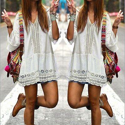 NWT Bohemian Style Women Summer White Flare Sleeve Lace Mini Dress Size Large