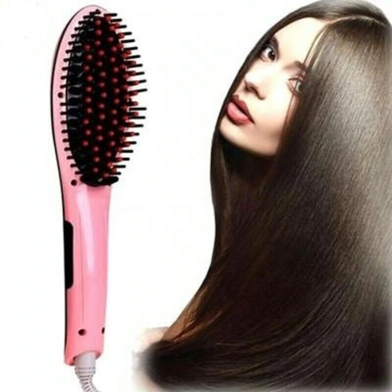 Electric Fast Hair Straightener Brush Irons Ceramic Comb w/LCD Display 110-220V Hair Care & Styling