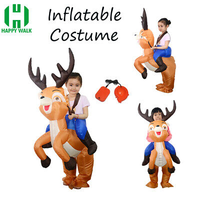 For Kids Deer Jockey Inflatable Costume Blow Up Suits Party Gift Cosplay Outfit