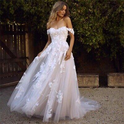 A-line Boho Wedding Dress Elegant Off The Shoulder Wedding Gowns Lace Bride