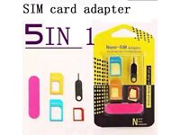 5 IN 1 Nano SIM Card to Micro Adapter Adaptor Converter Set for iPhone Universal
