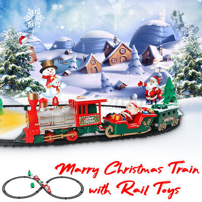Electric Christmas Train Track Set Light Sound Boy Kids Toy Xmas Gift Tree Decor