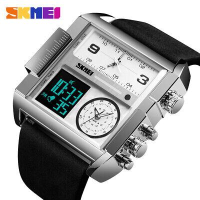 - SKMEI Big Face Square Watch Leather Japan Seiko Mvmt Dual LCD Digital 3 Zone Men