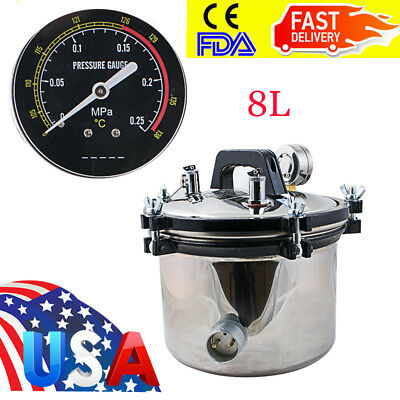 Portable Medical 8l Steam Autoclave Sterilizer Stainless Dental Lab Equipment Us