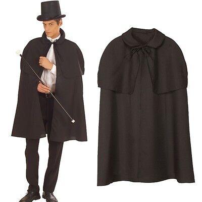 KOSTÜM UMHANG SCHWARZ - Sherlock Holmes Mantel Zauberer Vampir Dracula (Dracula Kostüm)