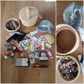Lovely sewing basket with thread, buttons, needles, buckles, tools etc