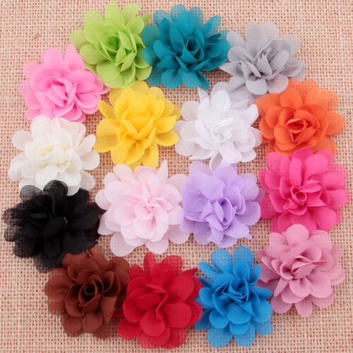 16Pc Baby Girl Hair Accessory Chiffon flower Child Head Flower No Clip Hot