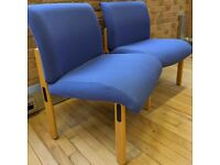FREE SAME DAY DELIVERY - 2x Blue Office Reception/ Waiting Room Chairs