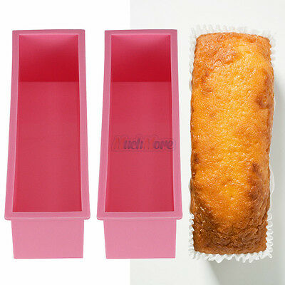 2PCS L Rectangle Brick Soap Toast Bread Loaf Cake Silicone Mold Bakeware 1.2L