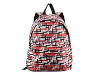 Red - Fashion Line Print Oxford Backpack School Rucksack -132 IN STOCK