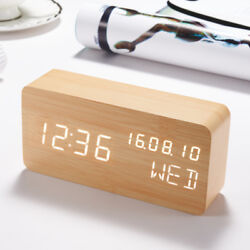 LED Wooden Clock Nightstand Desk Table Digital Alarm Watch Bamboo Wood Texture
