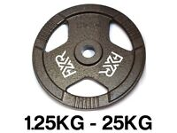 "100kg NEW FXR SPORTS TRI GRIP IRON STANDARD WEIGHT DISC PLATES WEIGHTS GYM - 25MM 1"" HOLE"