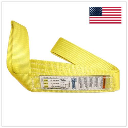 "2"" x 4 ft Nylon  Web Lifting Sling Tow Strap 2 Ply EE2-902 Eye Eye USA DOMESTIC"