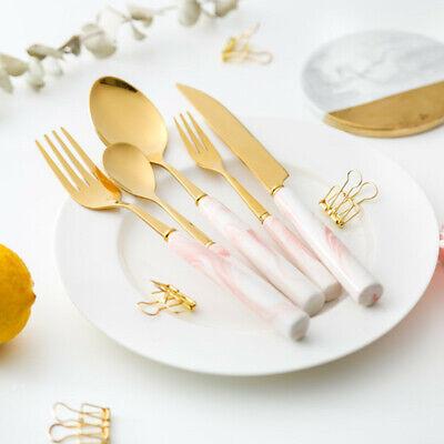 5PCS Ceramic Stainless Steel Flatware Set Dessert Fork Coffee Spoon Cutlery Set