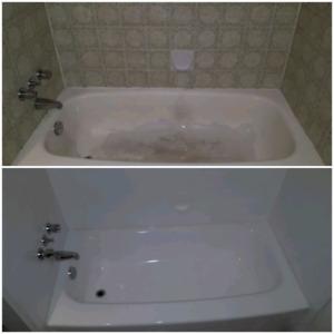 réémaillage de bain et lavabo antique