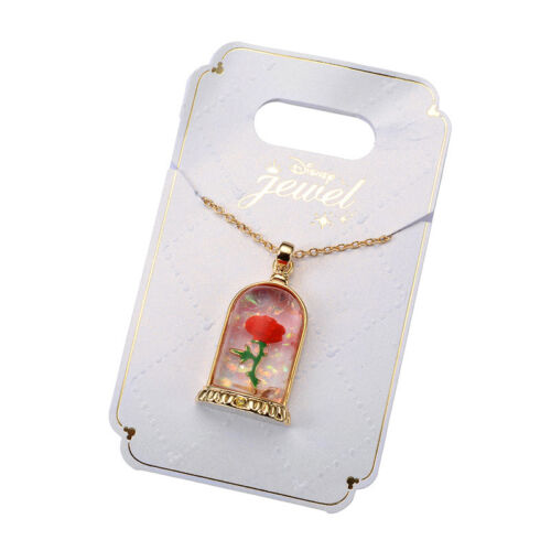 Japan Disney Store Rare Jewelry Beauty and the Beast Enchanted 3D Rose Necklace