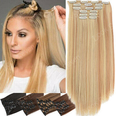 CLEARANCE Clip in Extensions Full Head  Hair Mix Blonde AS Human hair 16clip USA