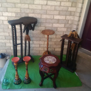 RUSTIC CD HOLDER SET+ Wood CANDLES+ PLANT TABLES*SEE EACH PRICE
