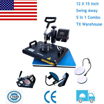 5 In 1 Heat Press Machine Digital Transfer Sublimation Plate T-shirt Mug 12x15