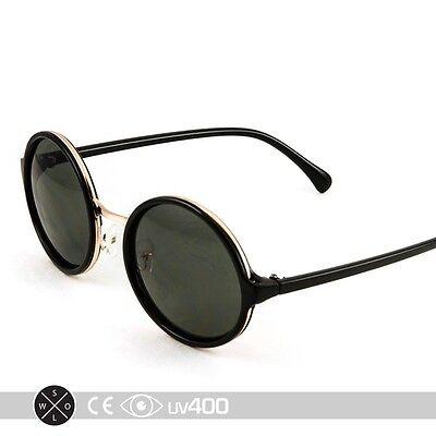 Black Gold Round Circle Frame Sunglasses Lens Classic High Fashion (Black Circle Frame Sunglasses)