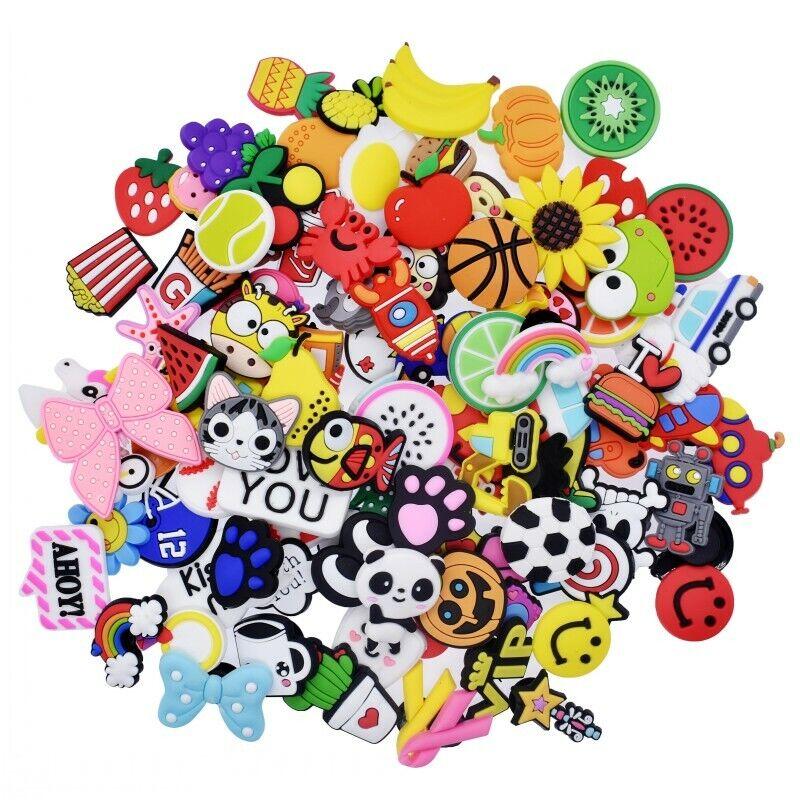 US Stock 100PCS Different Cute Shoe Charms Decorations Fit Clog Shoes Bracelets