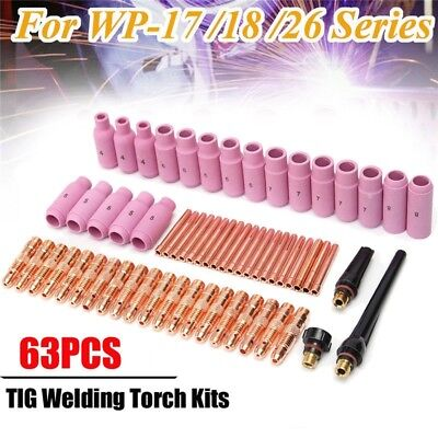 Tig Welder Torch Accessories Consumables Kit Collets Fit Wp17 18 26 Series 63pcs