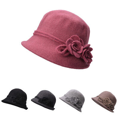 Weiche Eimer Hut (Frauen Retro Weiche Strick Wolle Cloche Eimer mit Seitlichen Blumenhut A466)
