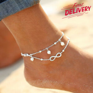 UK Women Ankle Bracelet 925 Sterling Silver Anklet Foot Chain Boho Beach Beads