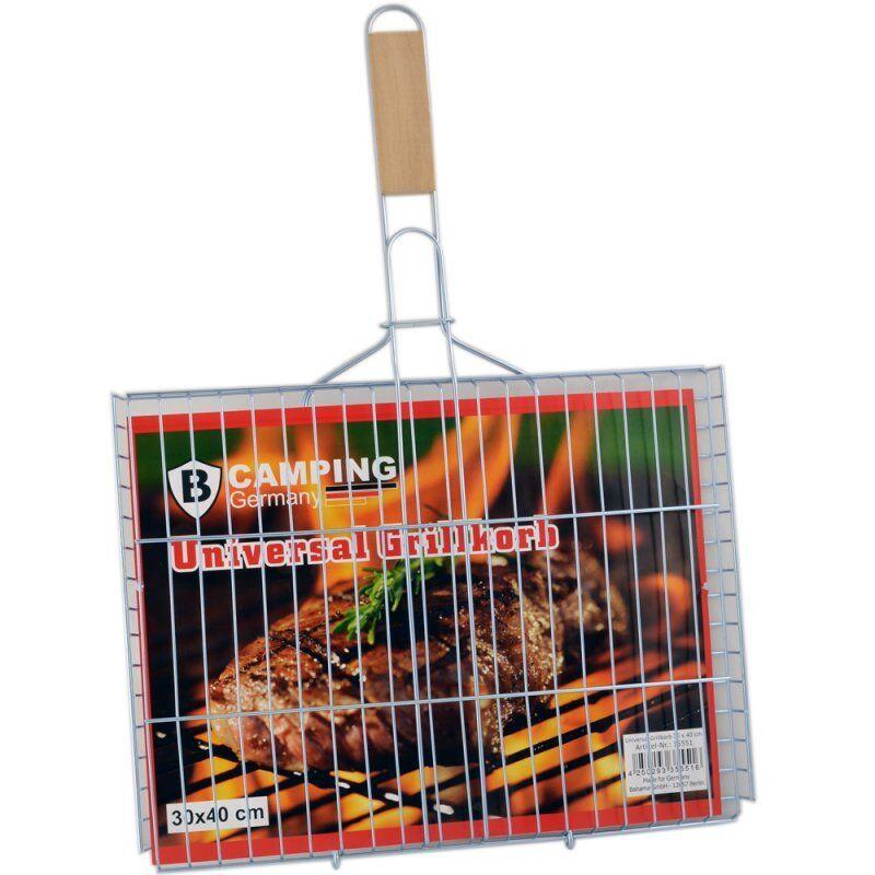 Grillkorb 40x30 cm Fischbräter Fischgriller Grillwender Gemüse Burger Patty