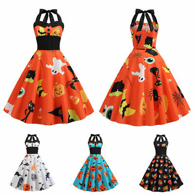 Halloween 50s 60s Vintage Rockabilly Halter Swing Dress Party Pinup Cocktail