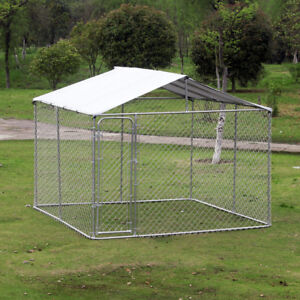 10 ft Large Pet Dog House Outdoor Exercise Cage Playpen w/ Fence