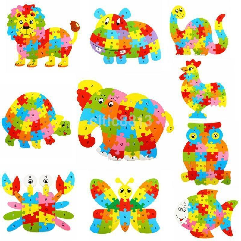 Kids Baby Wooden Wood Animal Puzzle Numbers Alphabet Learning Educational Toy-US
