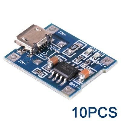 10pcs TP4056 Micro USB 5V/1A Lithium Battery Charging Module Lipo Charger TE585
