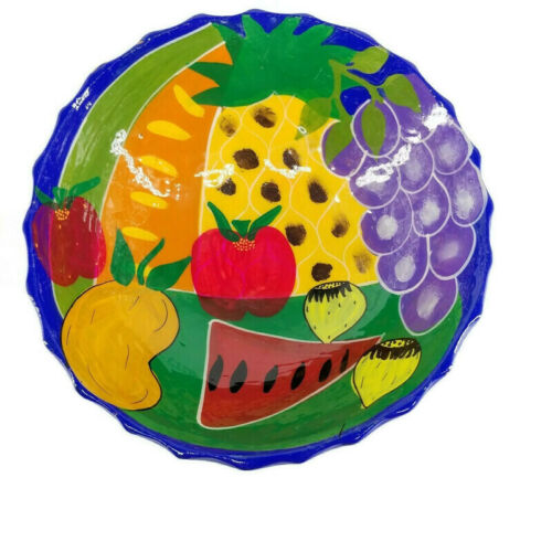 Mexican Pottery Fruit Bowl Centerpiece Handmade in Mexico Colorful Sunflowers