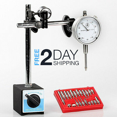 Backlash Tool Dial Indicator Gauge Magnetic Base Point Precision Inspection (Dial Indicator Magnetic Base & Point Set)
