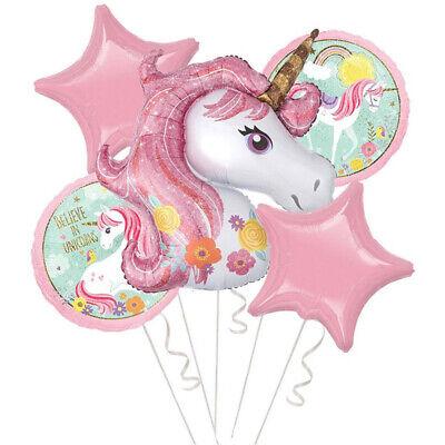 5 Folie Heliumballons Mädchen Kindergeburtstag Party Decor Einhorn Thema Bouquet