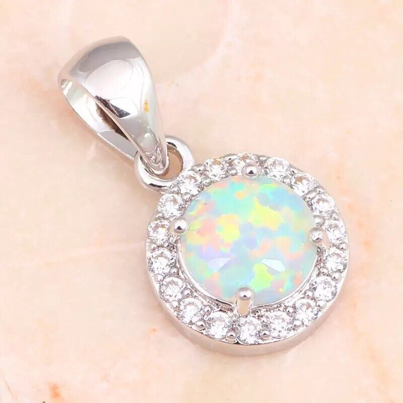 """Round White Fire Opal CZ Halo Drop Pendant Necklace 925 Sterling Silver 18 """" N25 Fashion Jewelry"""