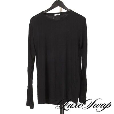 #1 MENSWEAR MINIMALIST Tomas Maier Made in Italy Black Stretch LS Tee Shirt XL