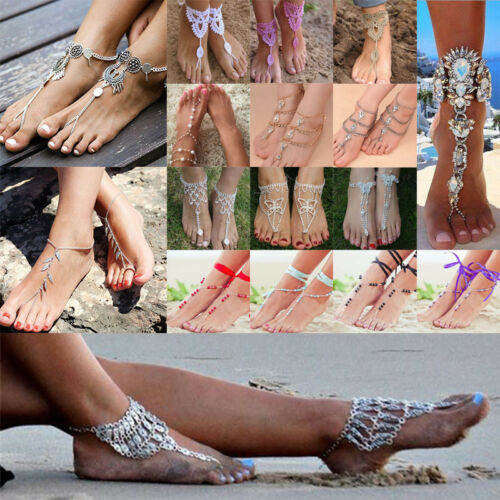 Boho Barefoot Sandal Foot Ankle Chain Toe Ring Foot Jewelry