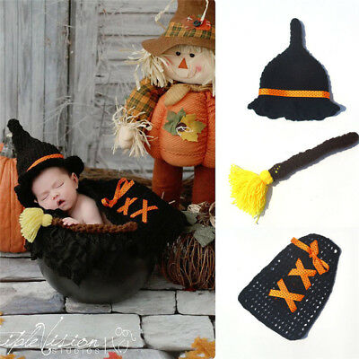 3pcs Halloween Baby Costume Newborn Crochet Witches Hat outfits Photography Prop - Newborn Witch Costume