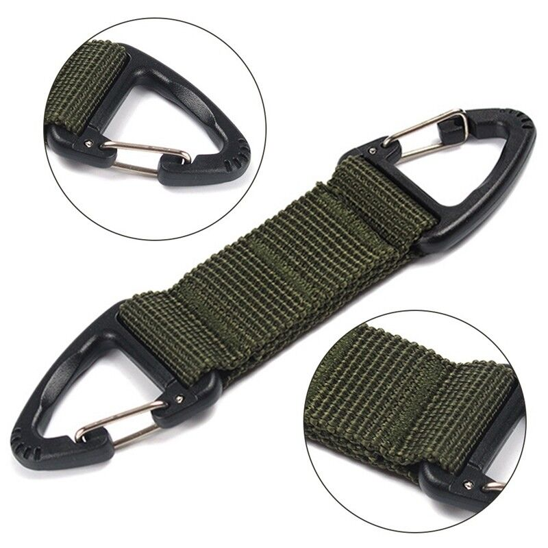2x Molle Hanging Belt Carabiner Keyring Clip Hook Webbing Buckle Strap