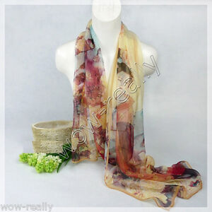 New Fashion Lady's Chinese Classic Beauty Print Silk Scarves Chiffon Scarf