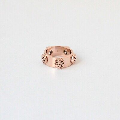 AUTH NWT TORY BURCH MILGRAIN LOGO RING ROSE GOLD SIZE 7