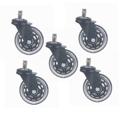 5pcs 3 Office Chair Rollerblade Style Soft Wheel Casters Ball Bearing Axle